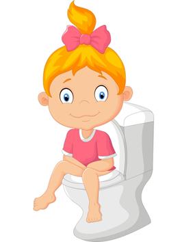 tekening van een meisje op een toilet