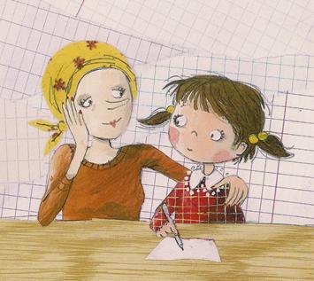 tekening zieke moeder met kind