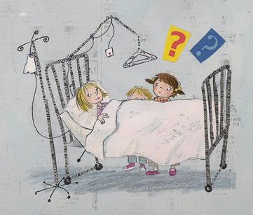 Kinderen bij een ziekenhuisbed