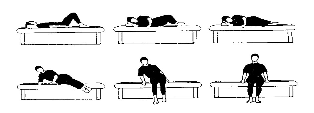 Instructie voor de posities om uit bed te stappen