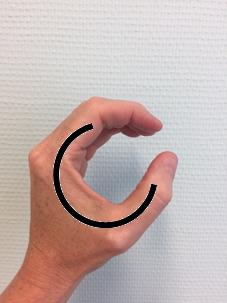 foto oefening van de duimpositie